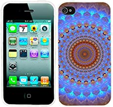 iPhone 4s Case, iphone4s case,iphone 4 case,iphone4 case, ChiChiC full Protective Stylish Case slim flexible durable Soft TPU Cases Cover for iPhone 4 4g 4s,blue brown Henna Mandala Datura Floral Lace