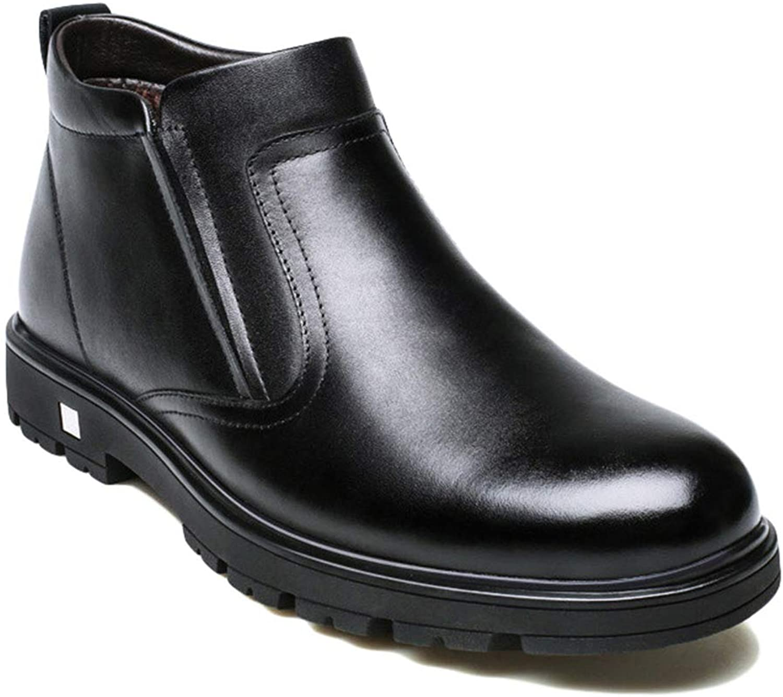 Men Warm Chelsea Ankle Boots Leather Winter shoes Non-Slip Adult Short Boots Man Comfortable Fur Lined Business Dress shoes