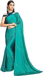 Designer Indian Cocktail Party Swarovski Embellished Saree Blouse Woman Sari 6584