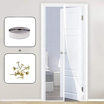 MENGH Magnetica Corredera Cortina 100x180cm Mosquitera Magnética para Puertas Cierre automático Adsorción magnética Velcro Adhesiva Adapta al Tamaño de la Puerta hasta: Amazon.es: Hogar