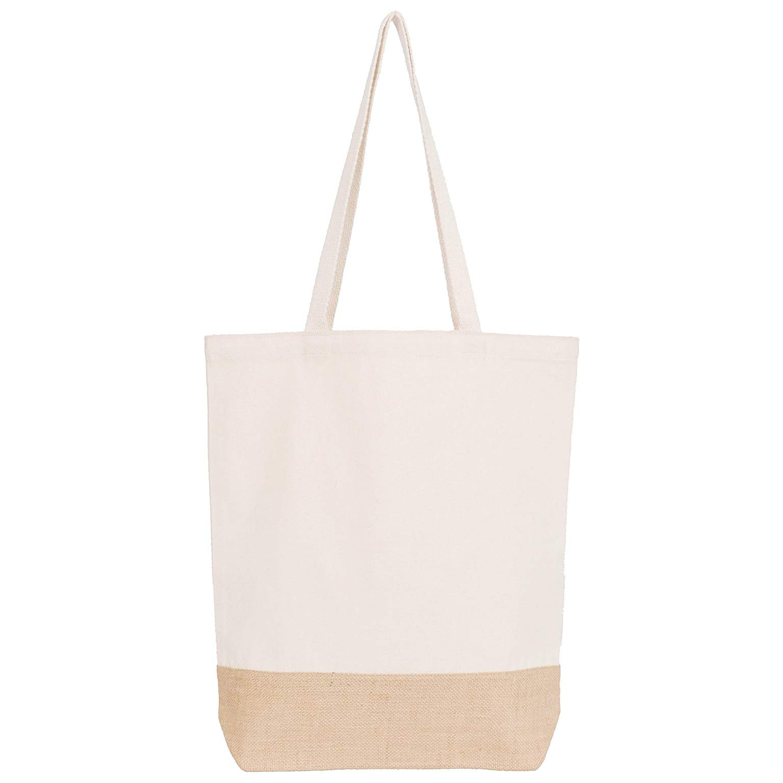 Thepaperbagstore Bolsas de Compras ecológicas y Reutilizables en de Tela de algodón con Base de Yute y Asas largas - XL - Color Natural - 400x100x450mm (5): Amazon.es: Hogar