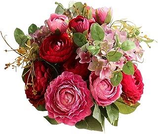 Lemax Fake Flowers Bridal Wedding Bouquet Artificial Ranunculus Rose Flowers Arrangement Home Wedding Decoration (Purple red)