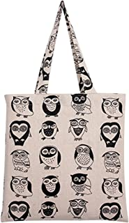 Women's Cotton Colorful Owl Print Canvas Tote Shopping Bag