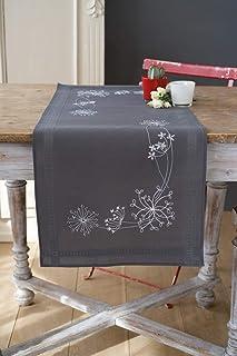 Vervaco Bedruckter Läufer Weiße Blumen & Gräser Stickpackung, Baumwolle, 40 x 100 x 0,3 cm