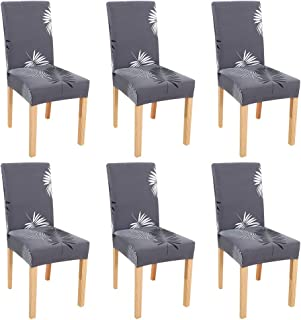 Dinning Chair Cover,BS Super Stretch Soft Fabric Washable Removable Chair Covers Slipcover Seat Protector for Home Decor,Dining Room,Hotel,Ceremony,Banquet,Wedding Party(6Pack, D Pattern)