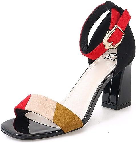 GTVERNH Mode Chaussures Chaussures Femme De 8 Cm De Talon Haut Sandales été Difficile Simple Orteils des Couleurs des Boucles De Unique Peu Frais des Chaussures De Femme.Trente - Huit La Couleur Bleue