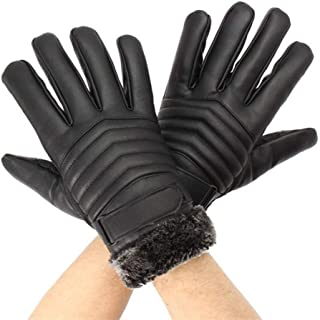 LCHAO Wind Protection Motorcycle Mountain Bike Black Thickened Tough Screenn PU Gloves Riding Racing Skiing Fishing (Size : 2)