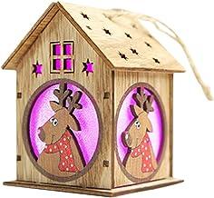 Lilideni Navidad Luminoso Casa de Madera Efecto de Cambio de Color Luz led DIY Chalet de Madera Árbol de Navidad Adornos Colgantes Elk Festival Decoraciones navideñas