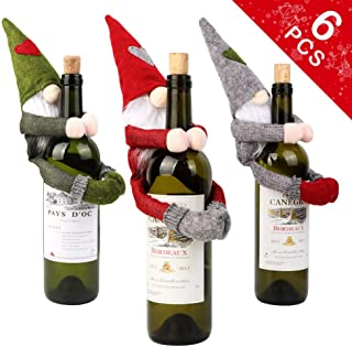 OurWarm 6pcs Christmas Wine Bottle Covers Ugly Sweater, Santa Claus Wine Bottle Cover Handmade Swedish Gnome for Home Holiday Christmas Decorations