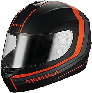 Triangle Full Face Matte Street Bike Motorcycle Helmet [DOT] (Large,Matte Black/Orange)