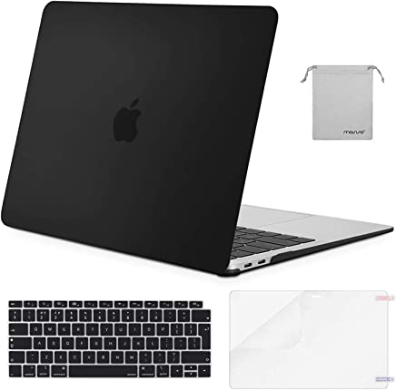 MOSISO Funda Dura Compatible 2018 MacBook Air 13 A1932 con Pantalla Retina & Touch ID, Carcasa Rígida de Plástico & Piel de Teclado & Protector de Pantalla & Accesorios Bolsa, Negro