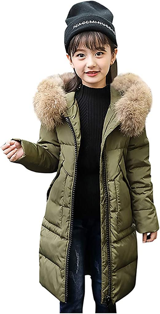 TOTAMALA Winter Down Max 52% OFF Jacket Kids Girls Fur Hooded Los Angeles Mall Parka Faux Dow