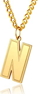 ChainsPro Men/Women A to Z Initial Old English Letter Necklace-Adjustable, 316L Stainless Steel/Gold Plated/Black (Send Gi...
