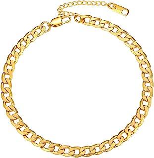 خلخال های زنجیره ای ضد زنگ PROSTEEL برای مردان ، رنگ نقره ای / طلایی ، دستبند مچ پا ضد حساسیت ، قابل تنظیم 8-10.5 اینچ ، جعبه کادو