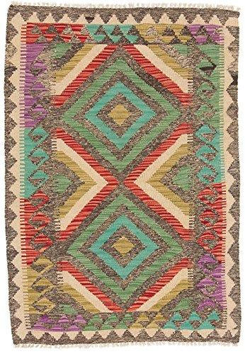 CarpetFine: Tapis Kilim Afghan - 83x120 cm Multicouleur - Géométrique