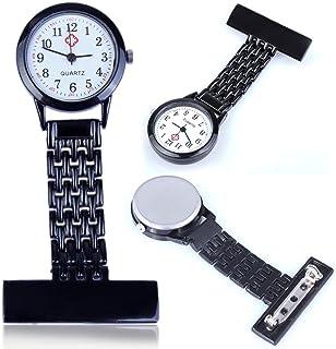 PERFLY Nurses Luminous Lapel Pocket Watch,Clip-on Fob Brooch Women Fashion Nurse Watch, Stainless Steel Quartz Mini for Pocket,Portable Durable Elegant Watch(6 Colors)