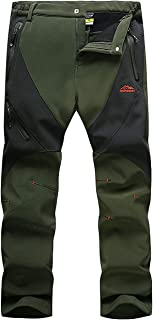 Men's Outdoor Windproof Waterproof Soft Shell Fleece Lined Hiking Snowboard Ski Pants with Zip Pockets