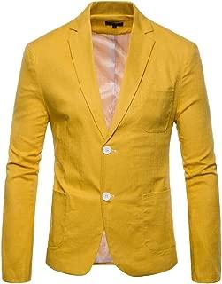 Mens Casual Cotton Linen Slim Fit Spring Two Button Blazer Coats