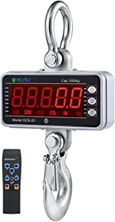 Digital Crane Scale,Klau 1000 kg 2000 lb Industrial Heavy Duty Hanging Scale LED Display with Remote Silver for Farm Hunting