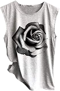Womens Sleeveless Sunflower Print Shirt Casual Loose Tank Top Soft Comfortable Top