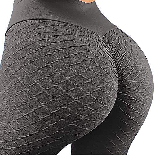 MOSHENGQI Women's Ruched Butt Lifting High Waist Yoga Pants Tummy Control Stretchy Workout Leggings Textured Booty Tights(Large,#3 Opal Gray)