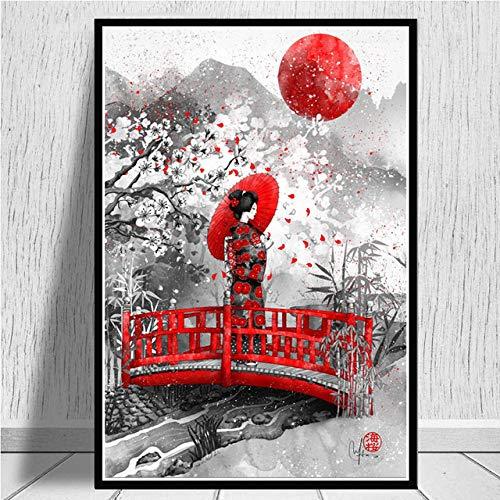 Cuadro En Lienzo,Geisha Mujer Japonesa Kobashi Non-Woven Carteles Mural,Arte Abstracto Ukiyo-E Imagen 3D Pared Vertical Pintar Ilustraciones Dormitorio Decoraciones Home Office,60Cm*80Cm Sin Cerco