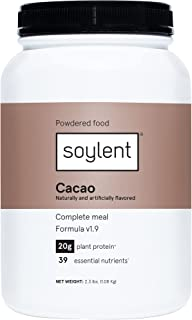 Soylent Complete Nutrition Gluten-Free Vegan Protein Meal Replacement Powder, Cacao, 36.8 Oz
