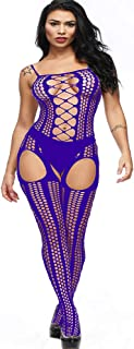 7250b9bcebc Aeakey Sexy Bodystocking Fishnet Open Crotch Bodysuit Stretch Plus Size  Lingerie