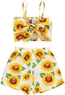 BOIZONTY Kids Baby Girls Outfits Floral Ruffle Off Shoulder Crop Tops + Bowknot Denim Shorts Skirt Set Toddler Summer Clothes - Yellow - 5-6 Years