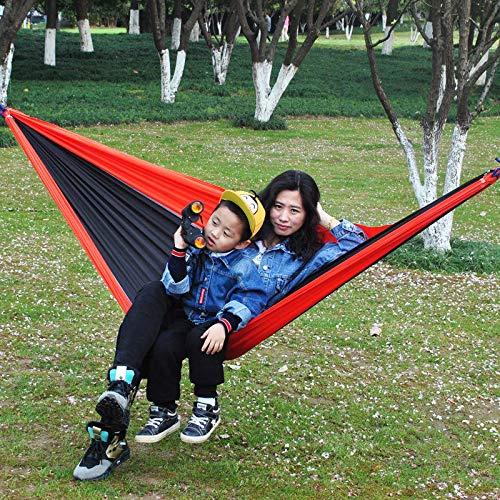 ZHANGNING Hamaca con mosquitera 270x140cm al Aire Libre portátil Doble Hamaca paracaídas Colgando Cama Swing Senderismo Hamaca aérea de Camping (Color : Red+Black)