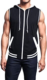 Hoodie Tank Tops for Men Workout T-Shirts Solid Breathable Sleeveless Drawstring Casual Cami Vest Sweatshirts