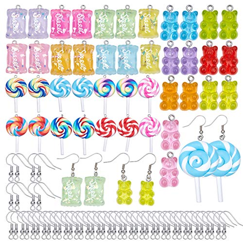 SUNNYCLUE 1 Box 42 Stück Süßigkeiten-Charms, Lollipop, Gummibär, Harz, Schleim, Charms mit Ohrringhaken, Polymer-Ton, Anhänger für Ohrringe, Armbänder, DIY Schmuckherstellung
