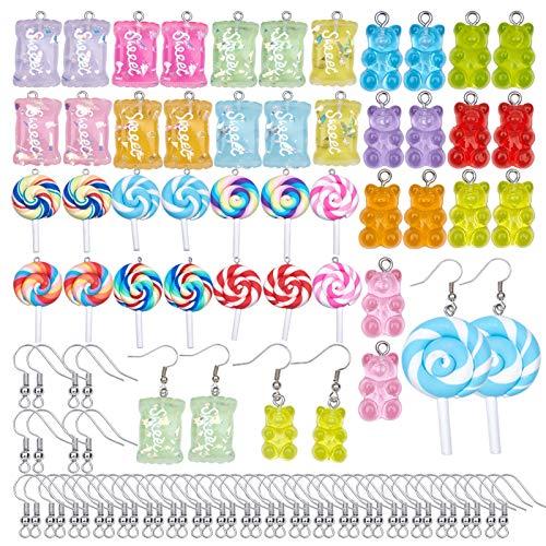 SUNNYCLUE 1 boîte 42 pièces Bonbons Sucrés Charmes Sucette Gommeuse Ours Résine Slime Charmes Avec Crochets de Boucle d'oreille Pendentifs en Pâte Polymère pour Boucle