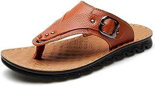 Sandale Homme Cuir,ete en Plein air Confort Semelle en Caoutchouc Tong