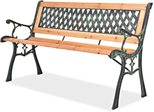 Heitamy Park Bench, 122 x 51 x 73 cm Cast Iron Structure Grid Garden Bench Patio Furniture Garden Bench for Porch Patio Pa...