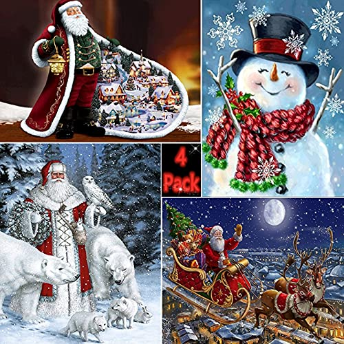 4 Pack 5D Full Drills Santa Claus Diamond Painting Kits,DIY Rhinestone Paint with Diamonds Arts Craft Christmas Gift for Adults,Home Wall Decor,11.8x15.7inch