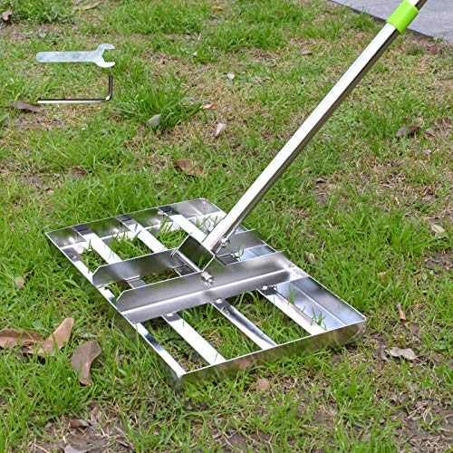 Scalebeard Lawn Leveling Rake, 5 FT Lawn Leveling Rake with Stainless Steel Pole,Level Soil or Dirt Ground Surfaces Easily, Suit for Garden Backyard Golf/Lawn(5FT,17 X10In)