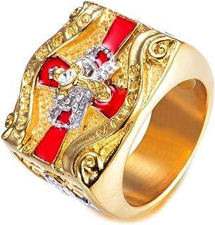 Gungneer Iron Cross Ring Stainless Steel Knight Templar Masonic Cross Crown Jewelry for Men Women