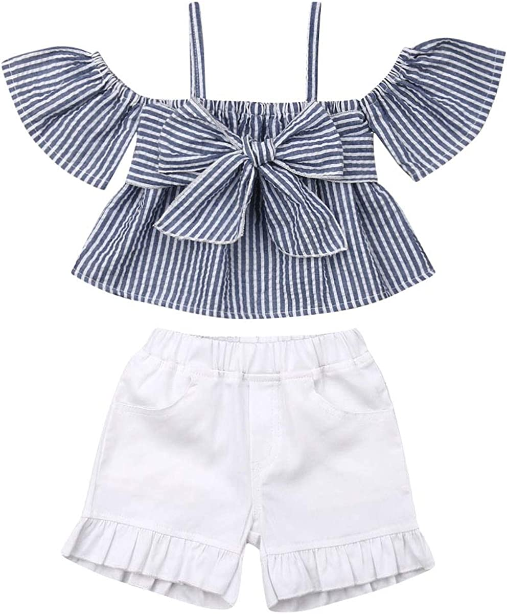 Toddler Baby Girl Halter Ruffled Outfits Set Striped Strap Crop Tops+ White Denim Short Two Piece Summer Clothes Set