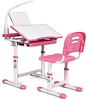 COSTWAY Bureau Enfant Ensemble Table et Chaise pour Enfants avec Lampe Hauteur Réglable Plaque de Table Inclinable pour Et...