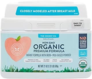 The Honest Company Organic Premium Infant Formula with Iron & Prebiotics for Immune Support | Non-GMO | Gluten Free Baby Formula | Vitamins D, E & K | 21 oz.
