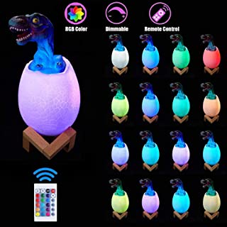 Dinosaur LED Night Light for Kids 16 Colors Changing Dinosaur Egg Bedside Lamp with Touch Function & Remote Control, 4 Modes Colorful Rechargeable Table Lamp for Nursery Bedroom Birthday Gift