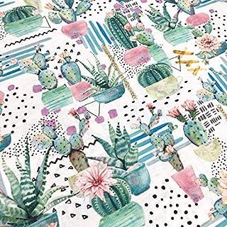 Tela por metros de loneta estampada digital - Ancho 280 cm - Largo a elección de 50 en 50 cm   Cactus y flores