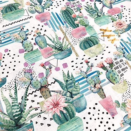 Tela de loneta estampada digital - Retal de 100 cm largo x 280 cm ancho | Cactus y flores - Verde, rosa ― 1 metro