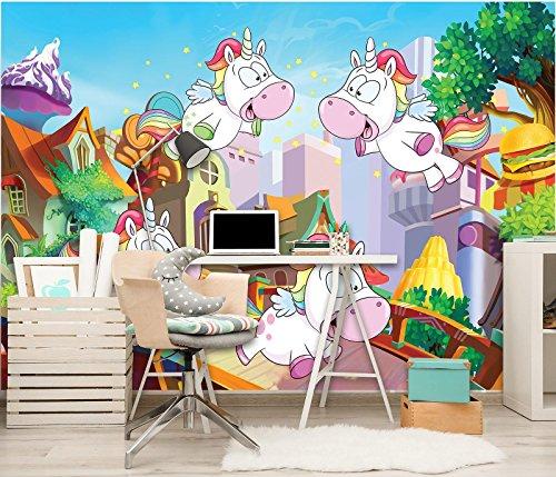 Welt-der-träume | papier peint intissé 130 g/m² | licornes | | 11708 _ Ve-aw | Licorne enfant cheval Animal Cœur Amour Rainbow City, Multicoloured, VEL