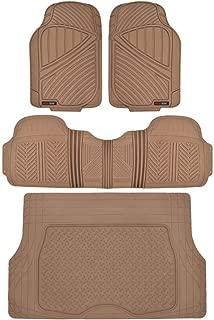 Motor Trend Flextough Rubber Car Floor Mats & Cargo Trunk Mat Set Black Heavy Duty - Odorless, Extreme Duty (Beige)