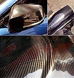 16EUR/m² Carbonfolie Autofolie Folie Carbon Auto schwarz Glanz - 5D (30x150cm) Autoaufkleber Hochglanz