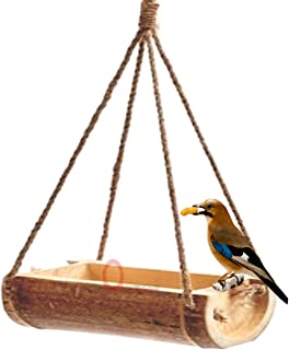LIVEONCE Bamboo Open Feeder for Birds Set of 1- Color -Natural