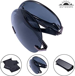 ef86ab340 TAIQX Unisex Foldable Sunglasses-Outdoor Sunglasses Polarized Classic  Rimless Sunglasses for Driving,Cycling,