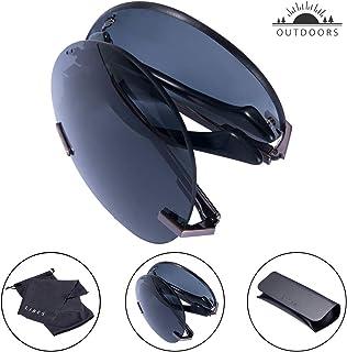 fc00c1b47e TAIQX Unisex Foldable Sunglasses-Outdoor Sunglasses Polarized Classic Rimless  Sunglasses for Driving